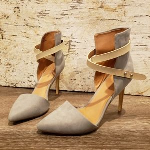 Grey heels with light tan ankle wrap